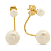 18 Karat Gold Plated Stainless Steel Double Pearl Earrings