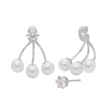 Stainless Steel Ear Jacket Earrings With Simulated Pearls and Diamonds
