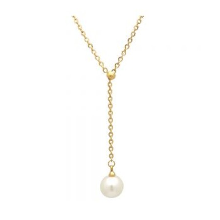 18kt Gold Plated Stainless Steel Necklace With Simulated Single Hanging Pearl