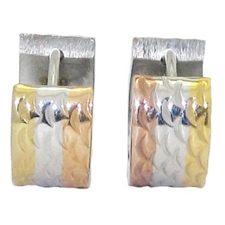 Stainless Steel Huggie Hoop Earring in Tri Color Gold
