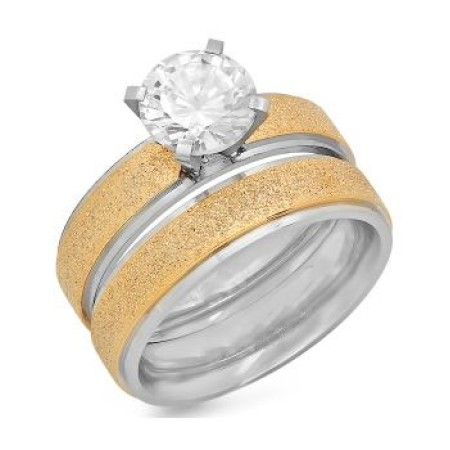 Wholesale 18 KT Gold Plated Glitter Stackable Engagement Ring