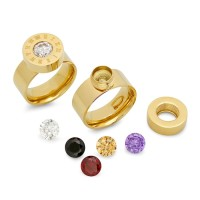 18kt plated stainless steel ring removable CZ color stones