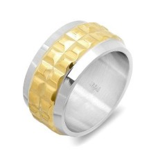 Stainless Steel Two Tone Ring with 18 Karat