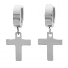 Ladies Stainless Steel Huggie Earrings with Hanging Crosses