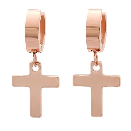 Ladies 18k Rose Gold Plated Stainless Steel Huggie Earrings with Hanging Crosses
