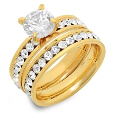 18kt Plated Stainless Engagement Wedding Ring Set Simulated Diamond