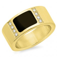 Ring with jet black stone 18 Karat Gold