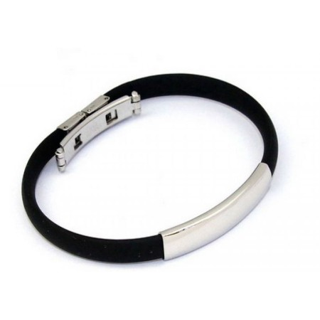 Black Rubber Bracelet in Stainless Steel