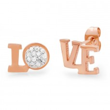 18kt Rose Gold Plated Stainless Steel Stud Earrings With Love Design and CZ Stones