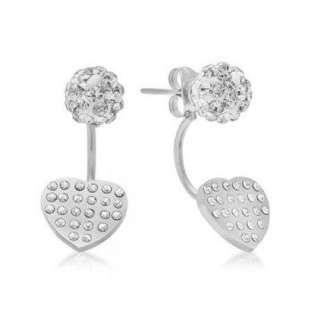 Stainless Steel Ear Jacket Earrings With Heart and Fireball Designs
