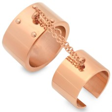 Rose Gold Plated Stainless Steel Double Rings 18 Karat Gold