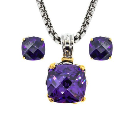 Two Pcs Set Earring, Necklaces Amethyst wholesale jewelry