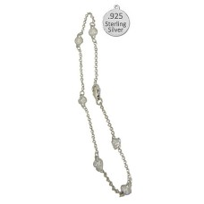 925 Diamond by the Inch Anklet Bracelet 9 inch Sterling Silver