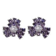 Cz Flower Earring Special 1 inch Amethyst Crystal