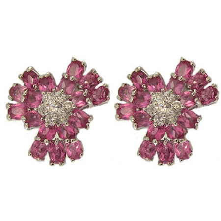 Cz Fushia Flower Earring Special 1 inch