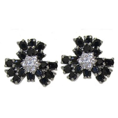 Cz Jet Black Flower Earring Special 1 inch