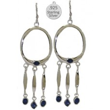 Sterling Silver Genuine Lapis Earrings, Native American