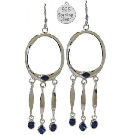 Sterling Silver Genuine Lapis Earrings, Native American