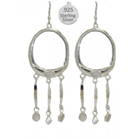 Sterling Mother of Pearl Stone Earrings, Native American