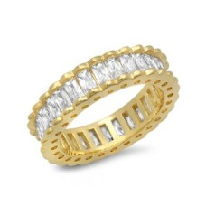 18kt Gold Plated Brass Ring With Baguette Cz Stones