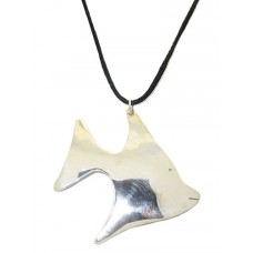 925 Sterling Silver Fish Pendant with slk cord