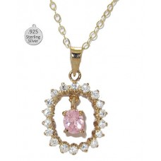 925 Sterling Silver 24 Kt Gold Pink Ice Pendant
