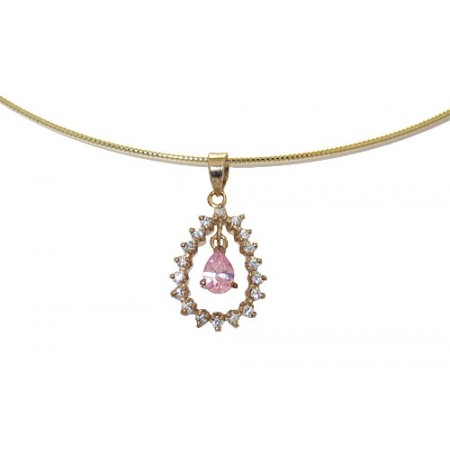 925 Sterling Silver 24 Kt Gold Pink Ice Pendant on Omega Chain