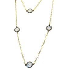 MX Two Tone Gunmetal And Gold Necklace set with Cz's