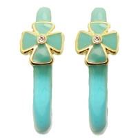 Turquoise MX Wholesale Enamel Hoop Earrings with Crystal