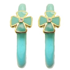 Turquoise MX Wholesale Enamel Hoop Earrings with Crystal