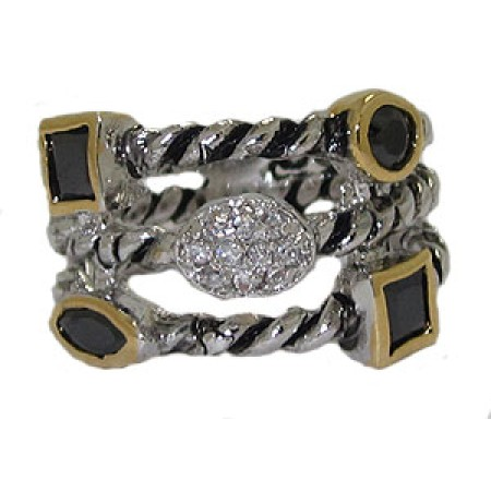Triple Row Cz Cable Ring Austrian Crystal Jet Black