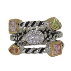 Triple Row Cz Cable Ring Austrian Crystal Light Multi
