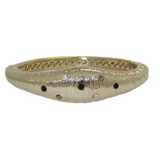 MX Matt Gold Jet & White Bangle Bracelet hinged