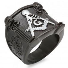 Men's Black IP Masonic Ring Stainless Steel Symbol