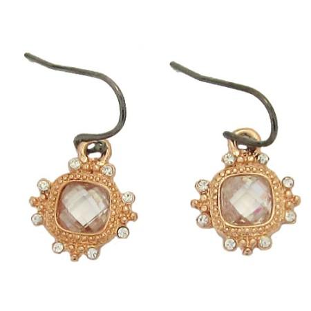 MX Rose Gold Simulated Diamond Earrings