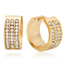 Huggie Earrings with Simulated Diamonds 18 Karat Gold