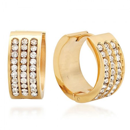 Huggie Earrings with Simulated Diamonds 18 Karat Gold