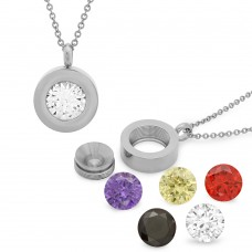 Ladies Stainless Steel Simulated Diamond Pendant Interchangeable
