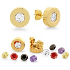 Stainless Steel Simulated Diamonds Earring Set Interchangables