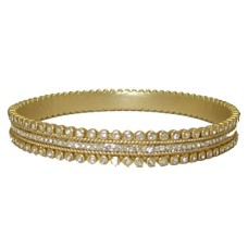 Gold MX Signature Bangle Bracelet set w Cz's