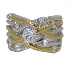 High End Designer Ring Two Tone
