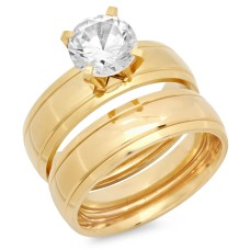 Gold Plated Stainless Steel Double Engagement Ring 18 Karat Gold