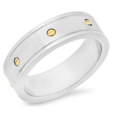Stainless Steel Ring Gold Plated Dots Design