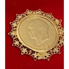 Eisenhower one dollar coin brooch