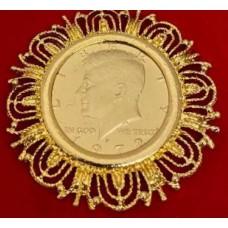 Kennedy Half Dollar Fancy Coin Brooch