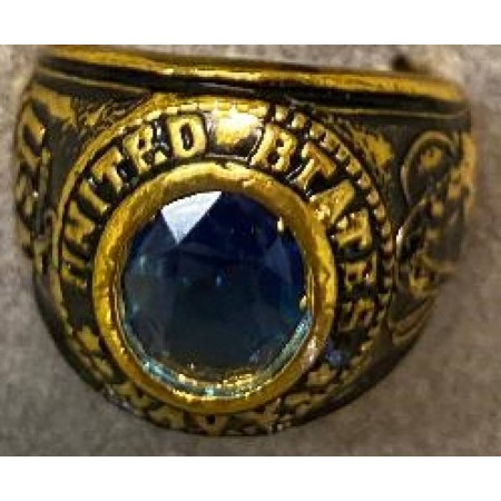 US Navy Ring with blue sapphire crystal on heavy 18 karat