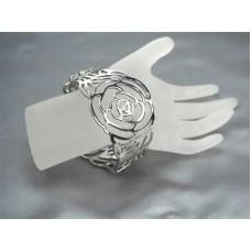 Chico's Beautiful rose carved filigree hinged bangle bracelet