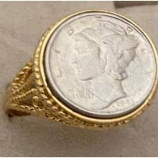Liberty Silver Mercury Dime coin ring