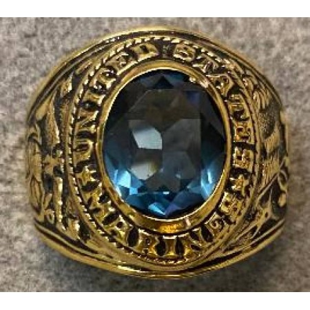Marine Ring with crystal stone set in Heavy 18 Karat Gold