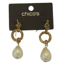 Chico Earrings hoop, chain & pearl carded NWT